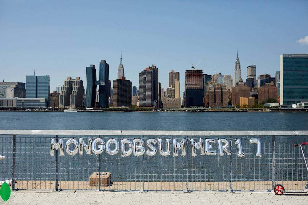 A view across New York's East River, with the words \